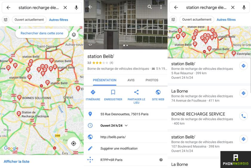 google maps bornes recharge