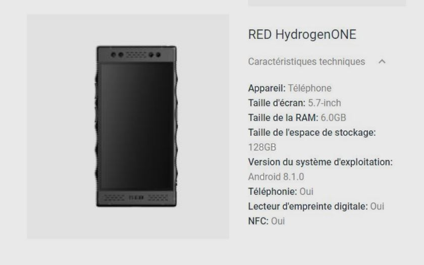red hydrogen one fiche technique confirme