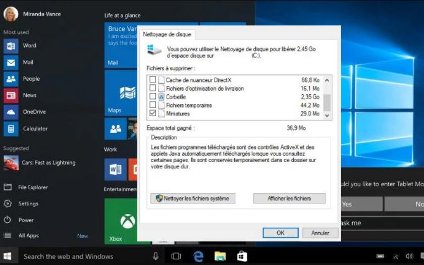 windows 10 nettoyage disque