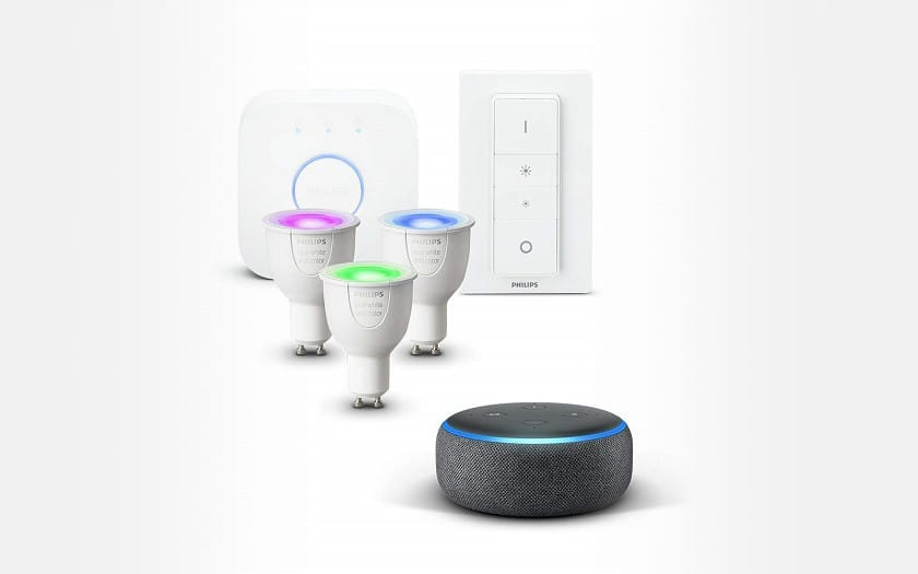 Echo Dot 3eme génération + Kit demarrage Philips Hue White and Color Ambiance LED