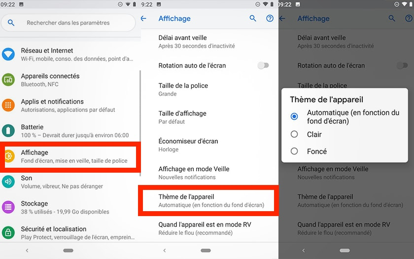 Android Pie  comment activer le mode sombre , PhonAndroid.com