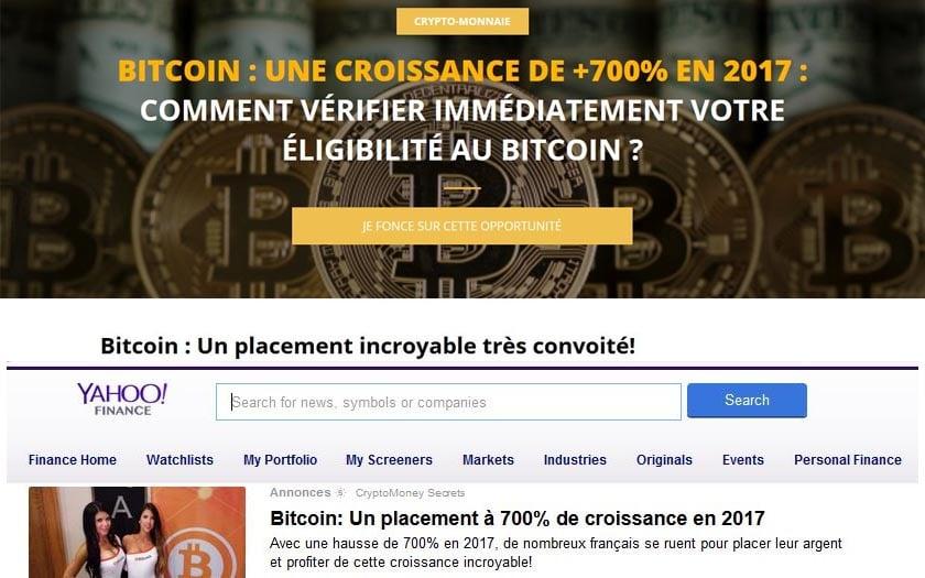 exemple de publicités frauduleuses liées au bitcoin