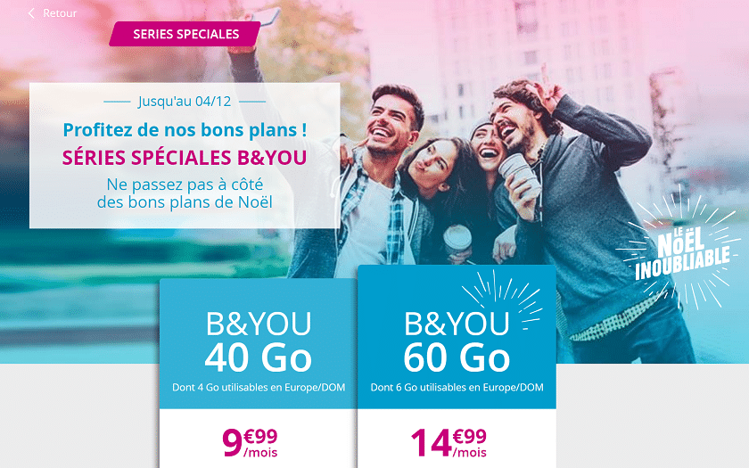 band you offres noel forfait 40 Go à 9,99 € et 60 Go à 14,99 €