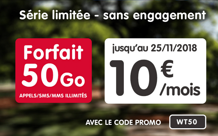 forfait illimité nrj mobile 50 Go à 10 € / mois