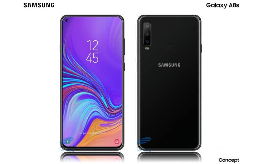 galaxy A8S fiche technique premier smartphone ecran infinityO