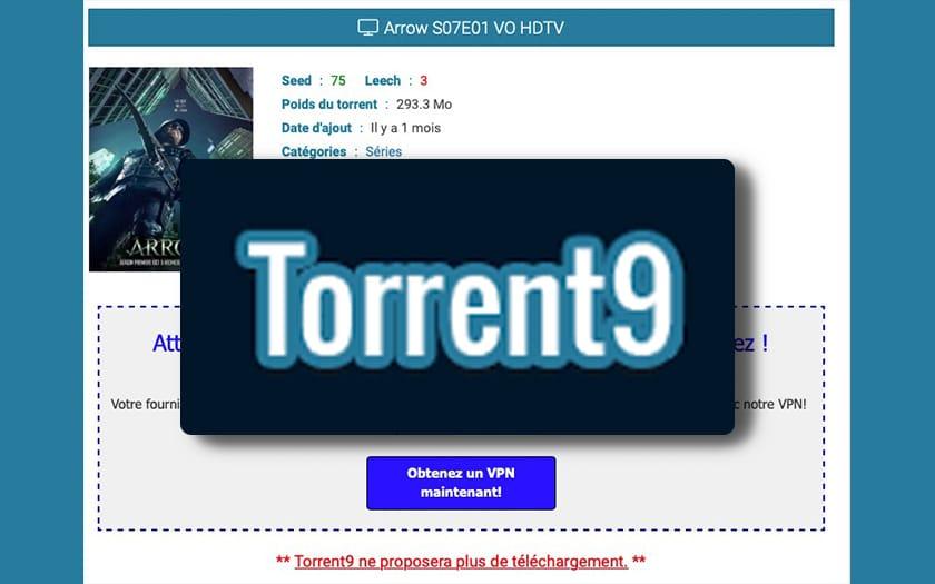 torrent9 site pirate propose plus aucun lient téléchargement illegal