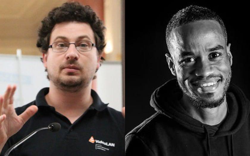 Jean-Baptiste Kempf créateur de VLC et Gaël Musquet créateur de HAND décorés de l'Ordre National du Mérite