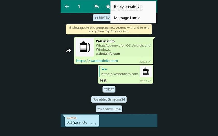 WhatsApp réponses privées