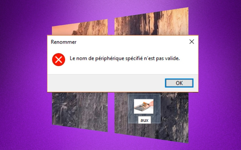 windows 10 nom de fichier invalide