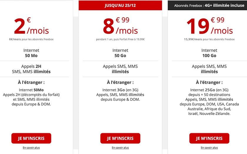 free mobile reduit data 4G forfait temporaire