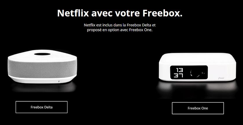Netflix inclus dans les Freebox Delta One