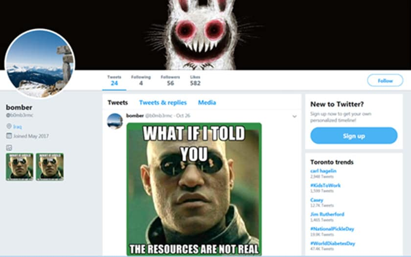 malware espion mèmes twitter