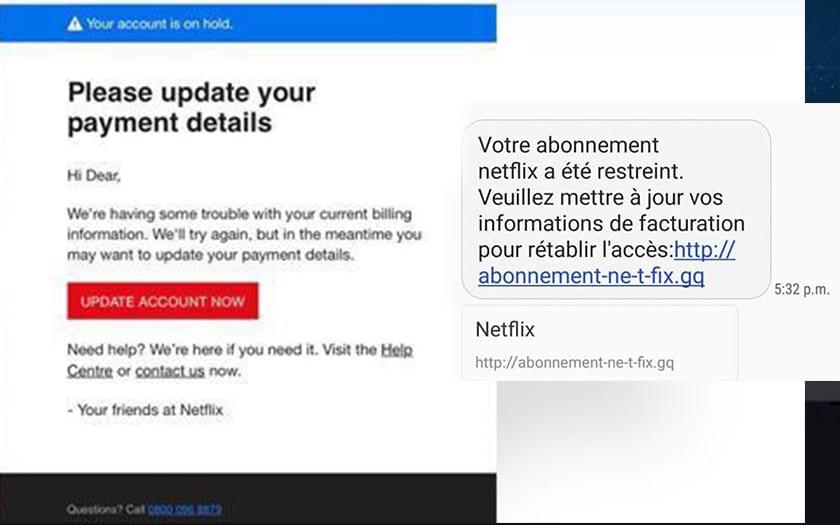 netflix nouvelle attaque phishing cherche voler compte