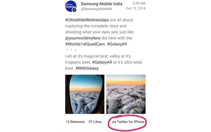 samsung tweete iphone promo galaxy A9