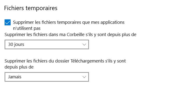 assistant stockage windows 10