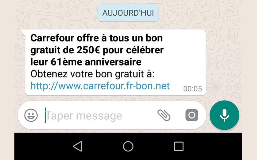 carrefour offre pas bon facebook whatsapp arnaque