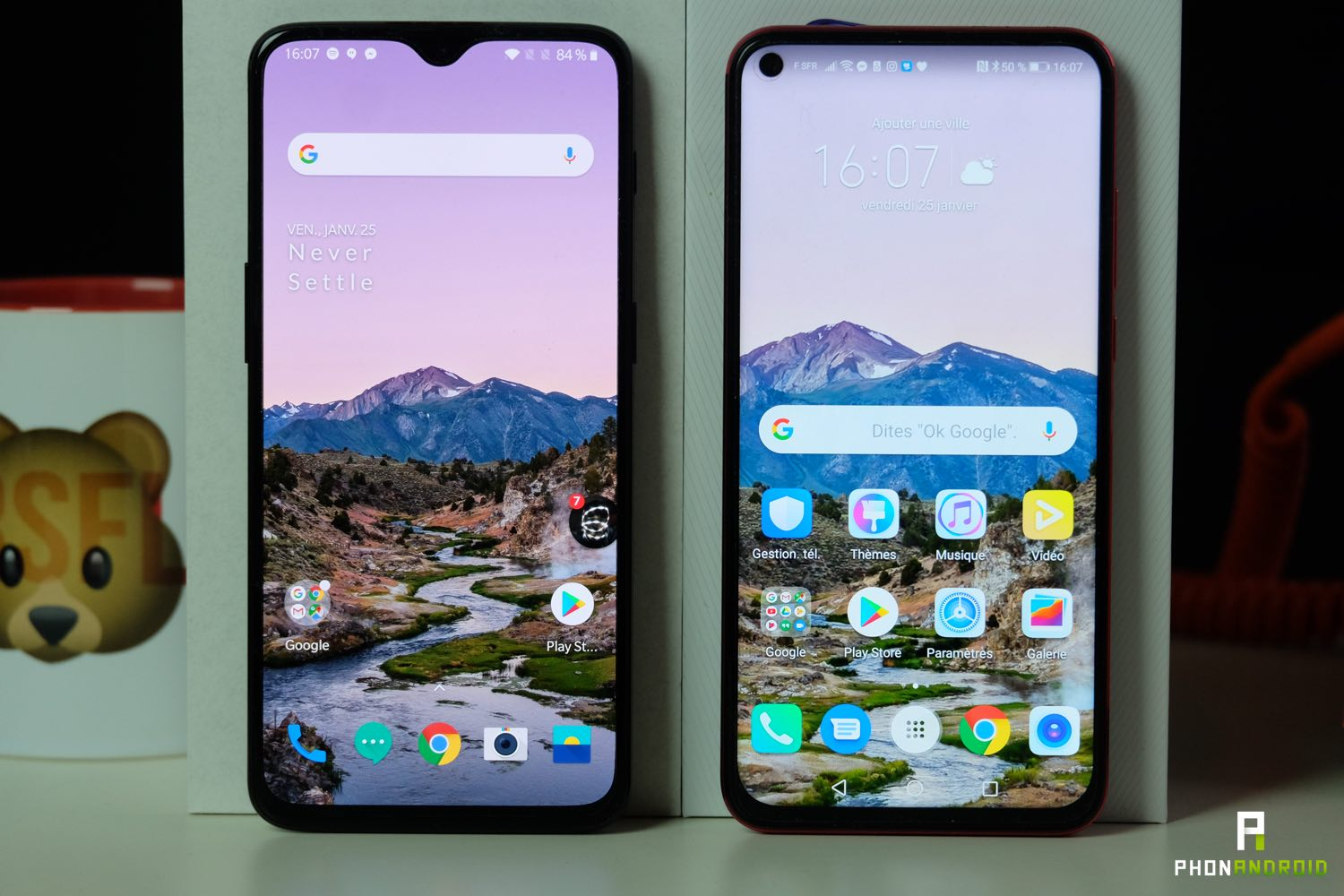 comparatif honor view 20 OnePlus 6t ecru