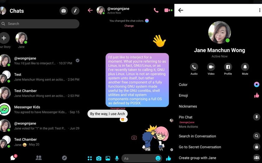 facebook messenger mode sombre