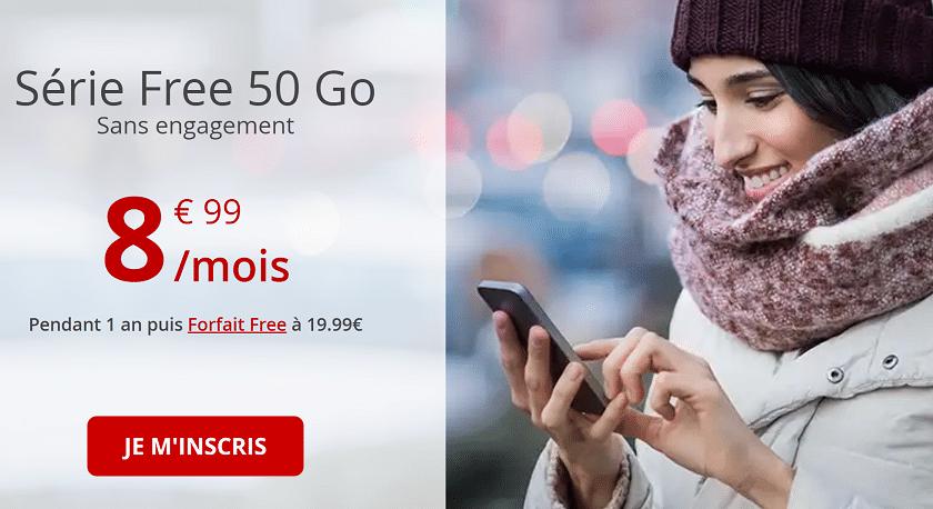 forfait free mobile 50 Go à 8,99 euros