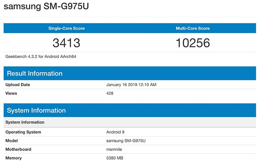 galaxy S10 plus benchmark geekbench