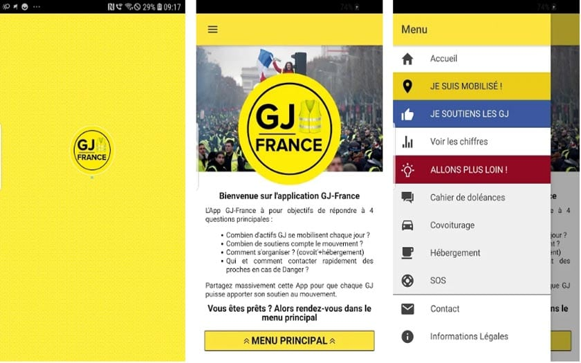 gilets jaunes application