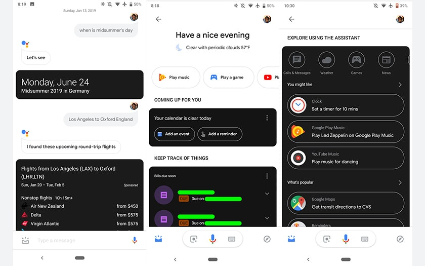 google assistant mode sombre