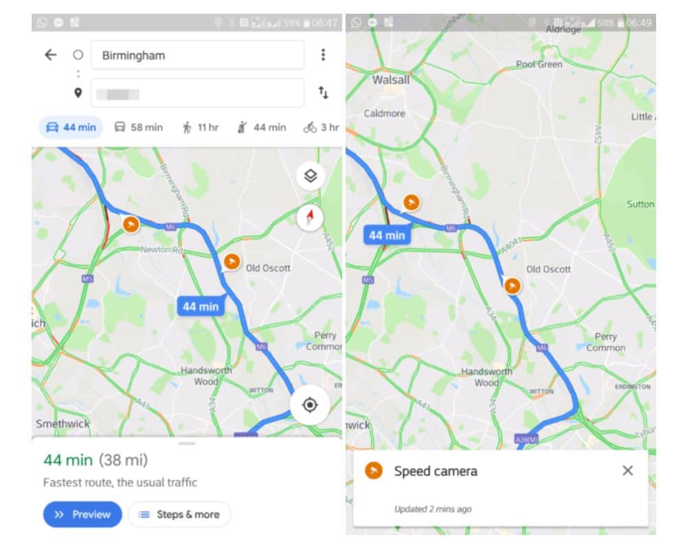 google maps radars