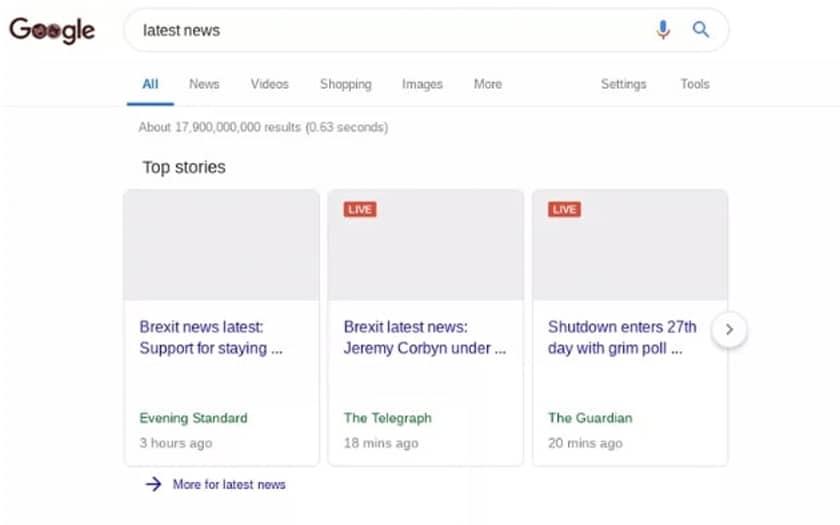 Google teste des résultats de recherche cassés