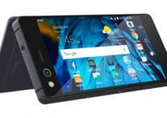 lg zte axon m smartphone pliable