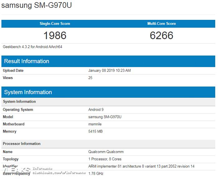 Samsung Galaxy S10 Lite Geekbench