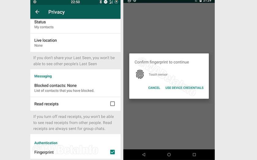 whatsapp proteger compte capteur reconnaissance faciale