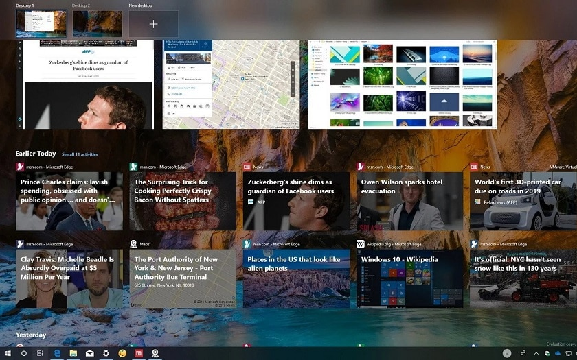 Windows 10 Timeline Google Chrome