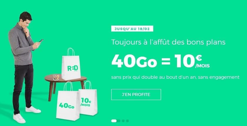 forfait mobile sfr red 40 Go à 10 € par mois