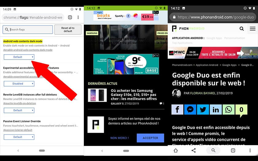 google chrome android mode sombre