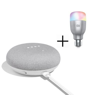 google-home-mini-fr-blanc-1-ampoule-mi-led-connectee