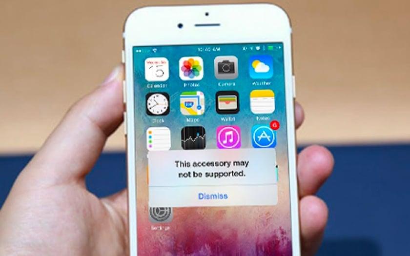 iPhone accessoire non supporté