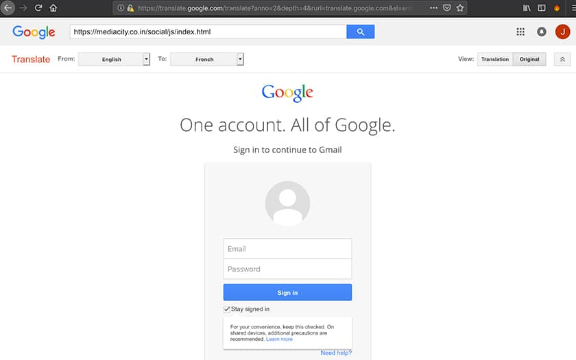 page de phishing via google traduction