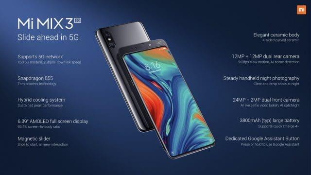 Caractéristiques du Xiaomi Mi Mix 3 5G