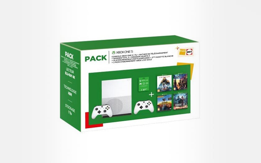 pack xbox one S + 5 jeux et 2 manettes