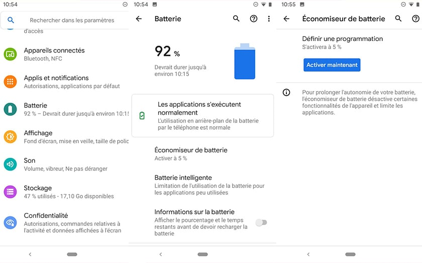 Le mode clair d'Android Q