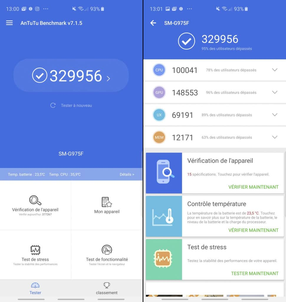 Score AnTuTu du Samsung Galaxy S10+