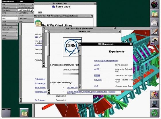 Capture d'écran du navigateur en 1993