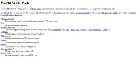 Capture d'écran du tout premier site Web (CERN)