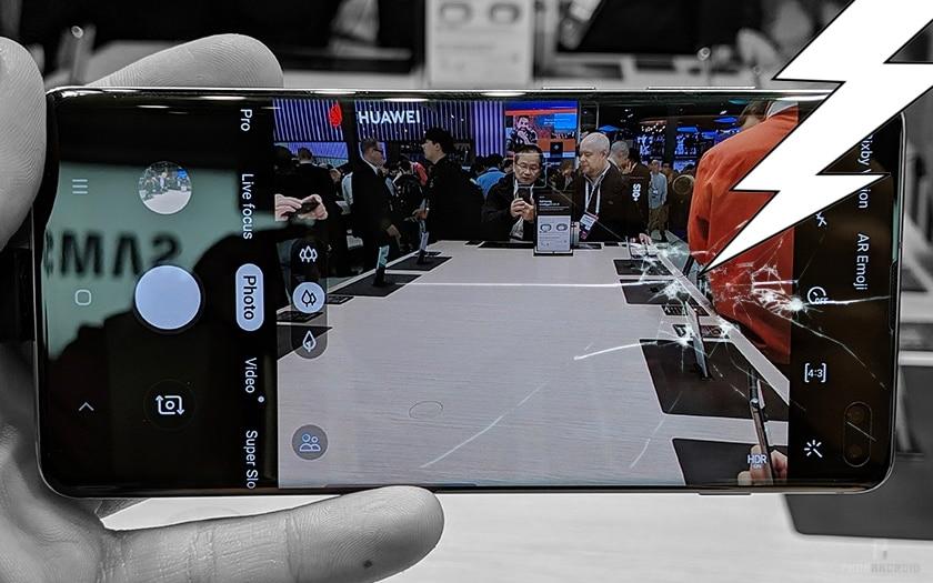Un écran de Galaxy S10 cassé