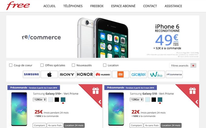Free smartphones reconditionnés