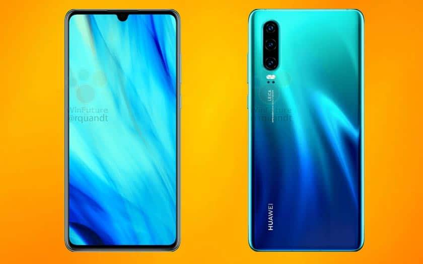 Smartphone Huawei P30 de bout