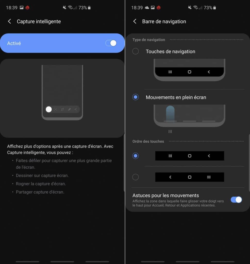 Interface du Samsung Galaxy S10+