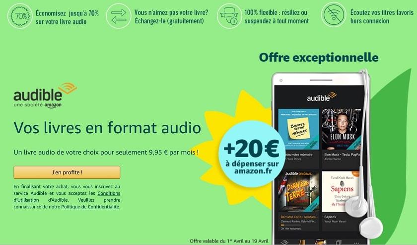 20 euros offerts pour un abonnement a Amazon audible
