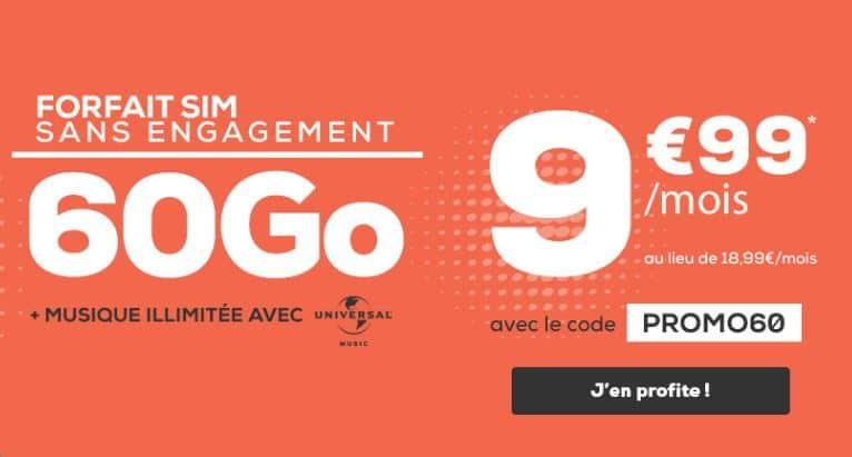 Forfait La Poste Mobile 60 Go pas cher à 9.99 € par mois