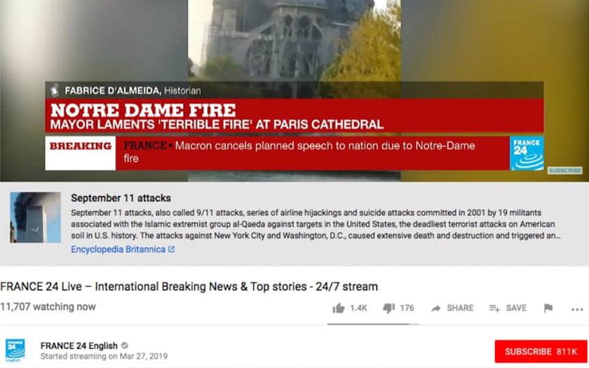 notre dame paris youtube confond incendie attentat 11 septembre